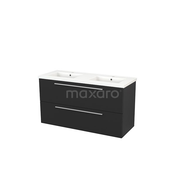 Badkamermeubel 120cm Modulo+ Carbon 2 Lades Vlak Wastafel Keramiek BMP003478