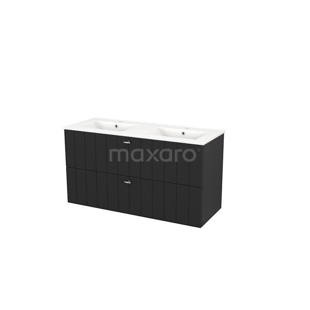 Badkamermeubel 120cm Modulo+ Carbon 2 Lades Lamel Wastafel Keramiek BMP003480