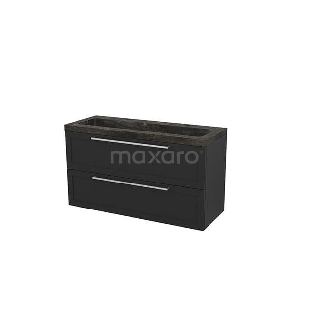 Badkamermeubel 120cm Modulo+ Carbon 2 Lades Kader Wastafel Natuursteen Blue Stone BMP003499