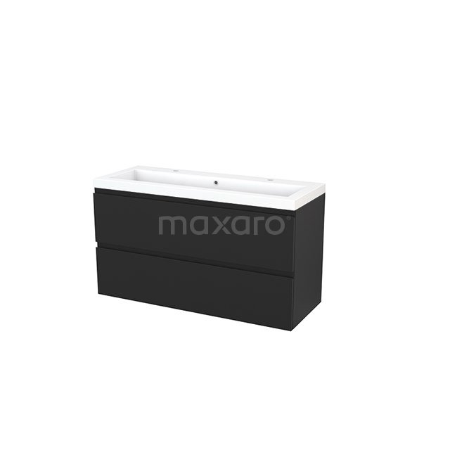 Badkamermeubel 120cm Modulo+ Carbon 2 Lades Greeploos Wastafel Mineraalmarmer BMP003510