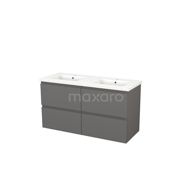 Badkamermeubel 120cm Modulo+ Basalt 4 Lades Greeploos Wastafel Keramiek BMP004021