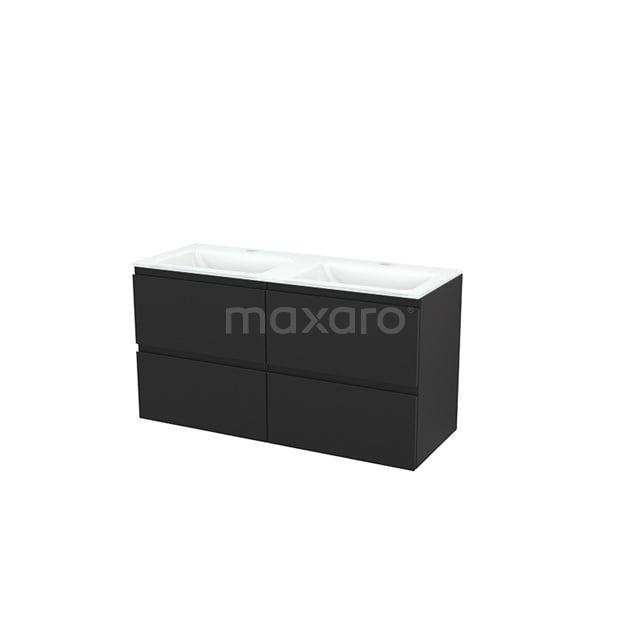 Badkamermeubel 120cm Modulo+ Carbon 4 Lades Greeploos Wastafel Glas BMP004046