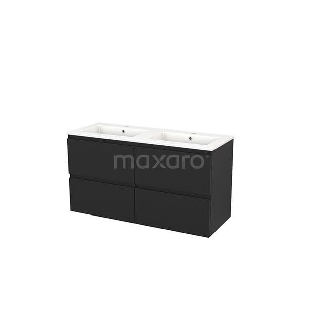 Badkamermeubel 120cm Modulo+ Carbon 4 Lades Greeploos Wastafel Keramiek BMP004051