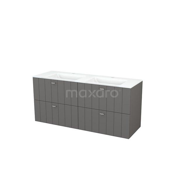 Badkamermeubel 140cm Modulo+ Basalt 4 Lades Lamel Wastafel Glas BMP004156