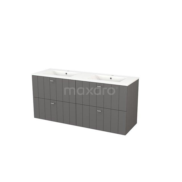 Badkamermeubel 140cm Modulo+ Basalt 4 Lades Lamel Wastafel Keramiek BMP004157