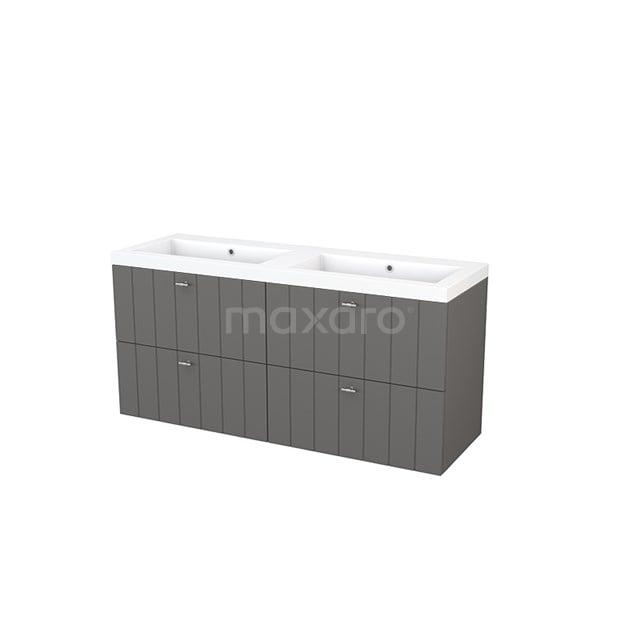 Badkamermeubel 140cm Modulo+ Basalt 4 Lades Lamel Wastafel Mineraalmarmer BMP004158