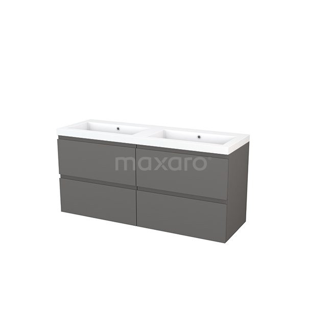 Badkamermeubel 140cm Modulo+ Basalt 4 Lades Greeploos Wastafel Mineraalmarmer BMP004170