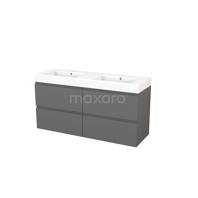 Badkamermeubel 140cm Modulo+ Basalt 4 Lades Greeploos Wastafel Mineraalmarmer BMP004172