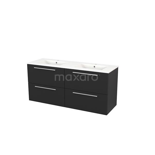 Badkamermeubel 140cm Modulo+ Carbon 4 Lades Vlak Wastafel Keramiek BMP004175