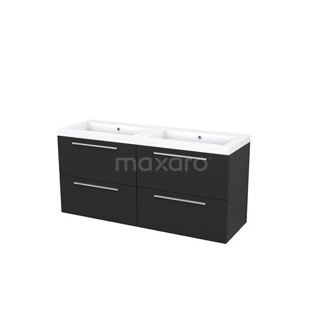 Badkamermeubel 140cm Modulo+ Carbon 4 Lades Vlak Wastafel Mineraalmarmer BMP004176
