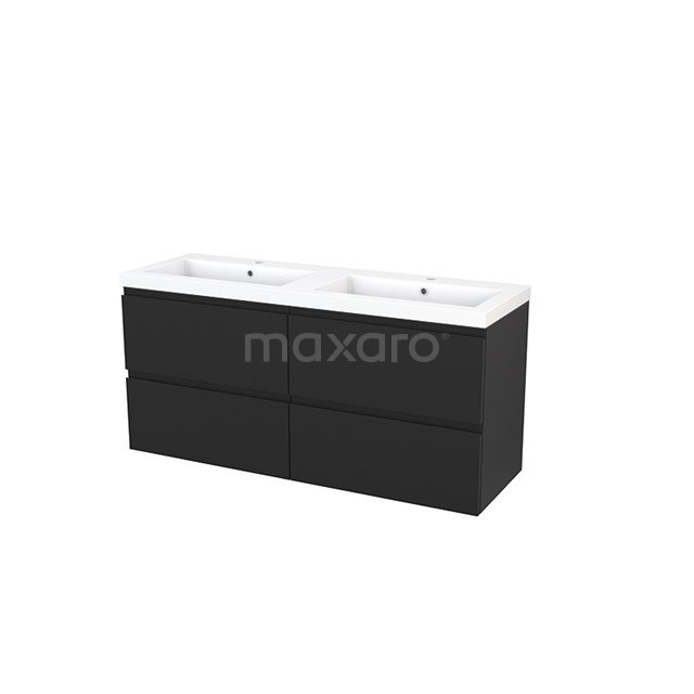 Badkamermeubel 140cm Modulo+ Carbon 4 Lades Greeploos Wastafel Mineraalmarmer BMP004195