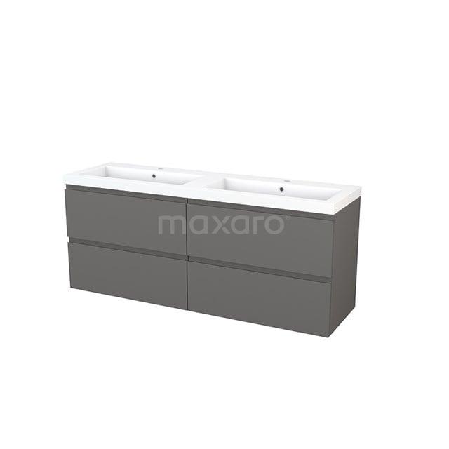 Badkamermeubel 160cm Modulo+ Basalt 4 Lades Greeploos Wastafel Mineraalmarmer BMP004245