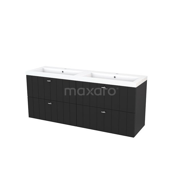 Badkamermeubel 160cm Modulo+ Carbon 4 Lades Lamel Wastafel Mineraalmarmer BMP004247