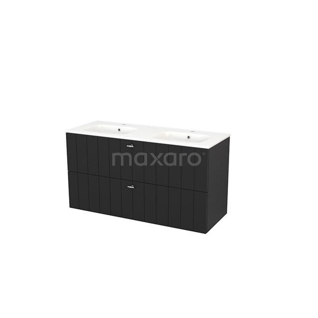 Badkamermeubel 120cm Modulo+ Carbon 2 Lades Lamel Wastafel Keramiek BMP004265