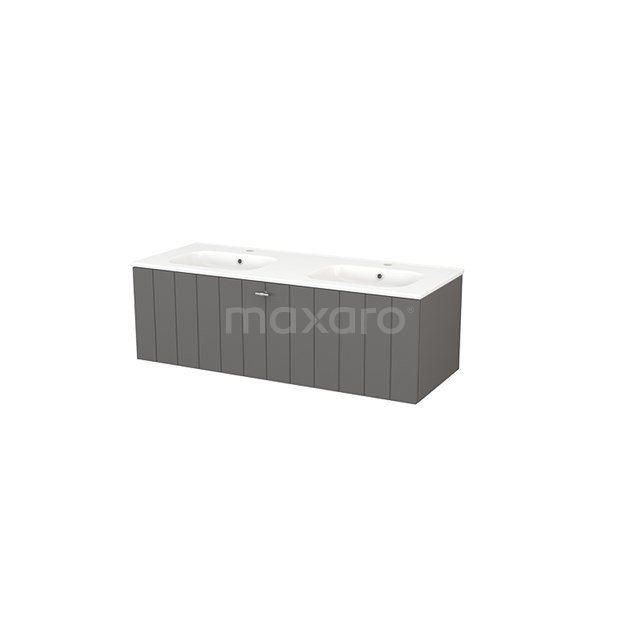 Badkamermeubel 120cm Modulo+ Basalt 1 Lade Lamel Wastafel Keramiek BMP004279