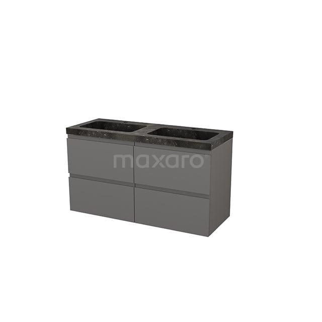 Badkamermeubel 120cm Modulo+ Basalt 4 Lades Greeploos Wastafel Natuursteen BMP004299