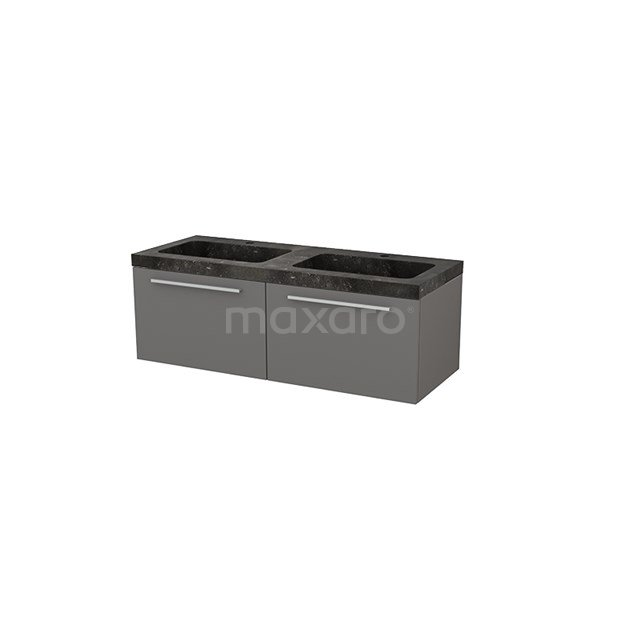 Badkamermeubel 120cm Modulo+ Basalt 2 Lades Vlak Wastafel Natuursteen BMP004314