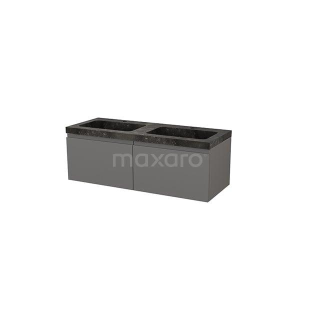 Badkamermeubel 120cm Modulo+ Basalt 2 Lades Greeploos Wastafel Natuursteen BMP004317