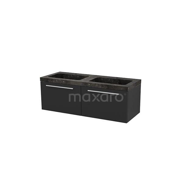 Badkamermeubel 120cm Modulo+ Carbon 2 Lades Vlak Wastafel Natuursteen BMP004318