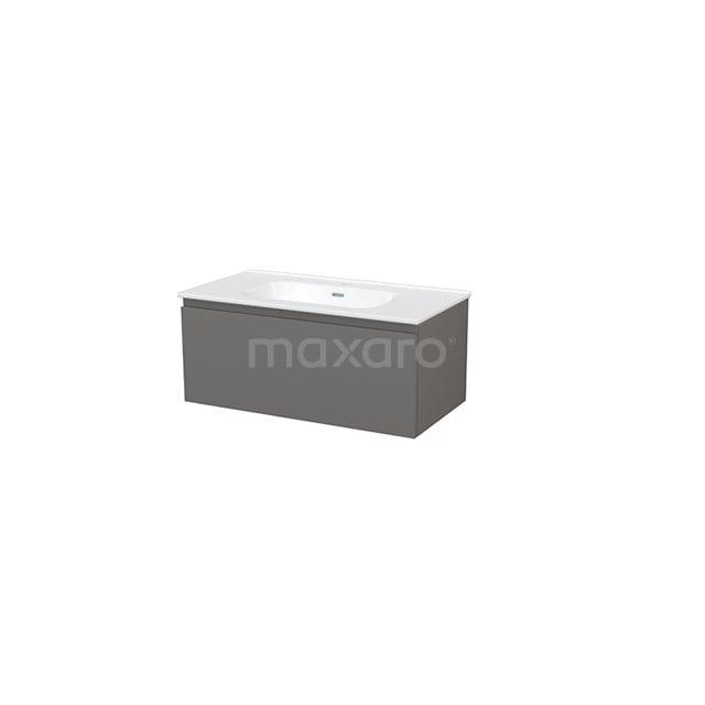 Badkamermeubel 90cm Modulo+ Basalt 1 Lade Greeploos Wastafel Keramiek BMP001683
