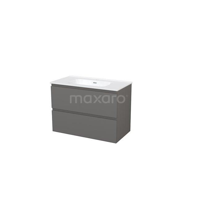 Badkamermeubel 90cm Modulo+ Basalt 2 Lades Greeploos Wastafel Keramiek BMP002981