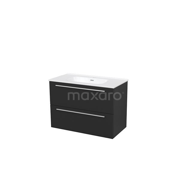 Badkamermeubel 90cm Modulo+ Carbon 2 Lades Vlak Wastafel Keramiek BMP002989