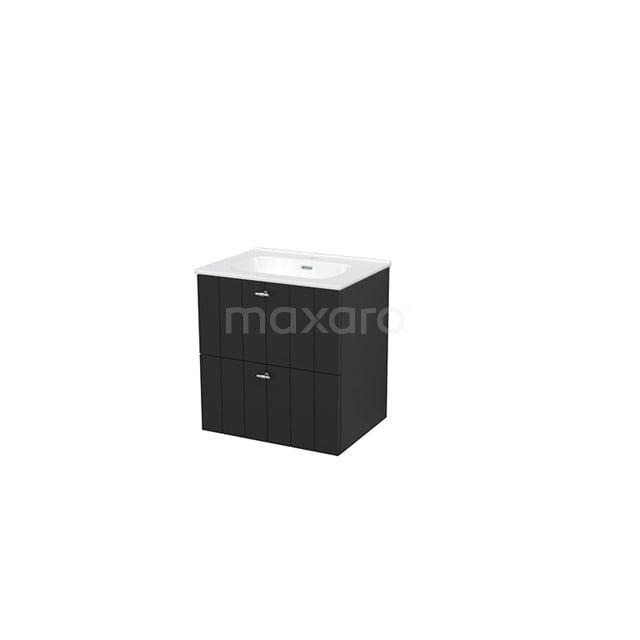 Badkamermeubel 60cm Modulo+ Carbon 2 Lades Lamel Wastafel Keramiek BMP002418