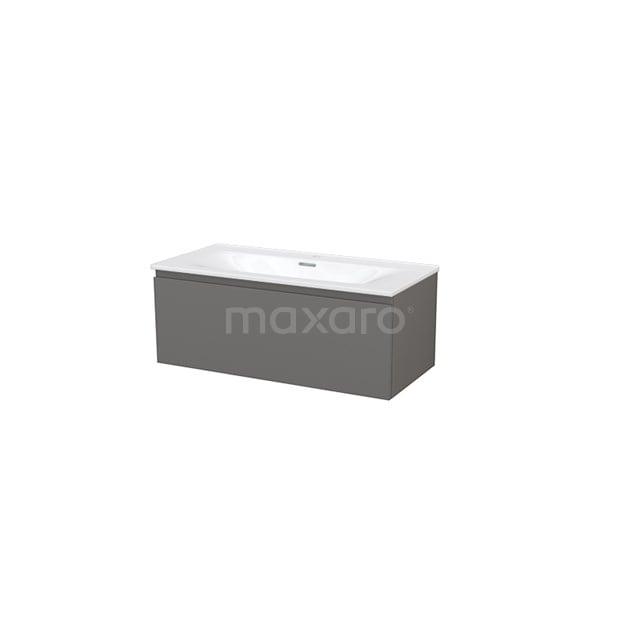 Badkamermeubel 100cm Modulo+ Basalt 1 Lade Greeploos Wastafel Keramiek BMP004669