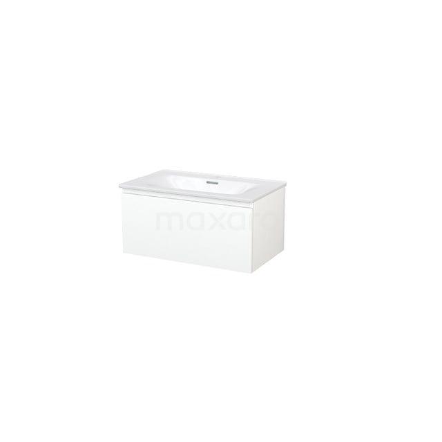 Badkamermeubel 80cm Modulo+ Mat Wit 1 Lade Greeploos Wastafel Keramiek BMP004670