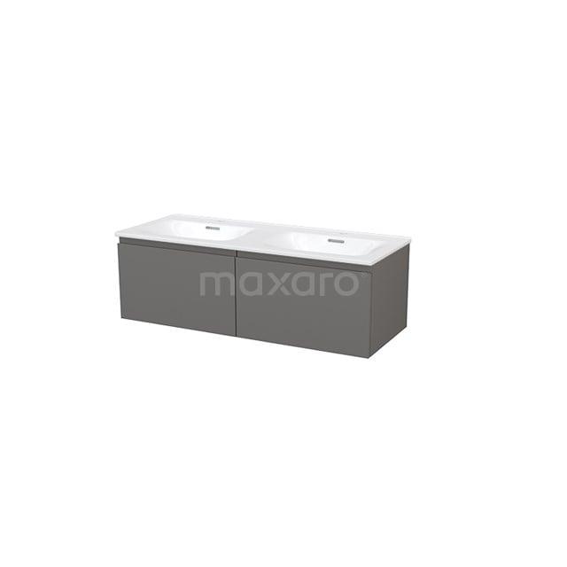 Badkamermeubel 120cm Modulo+ Basalt 2 Lades Greeploos Wastafel Keramiek BMP004753