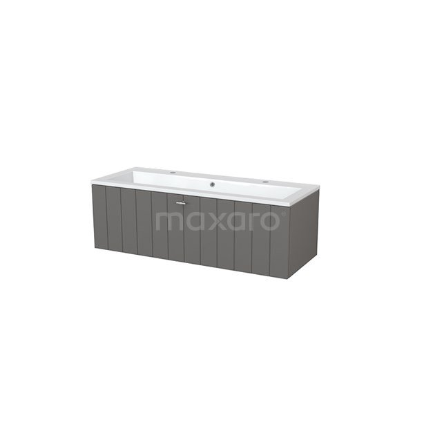 Badkamermeubel 120cm Modulo+ Basalt 1 Lade Lamel Wastafel Mineraalmarmer BMP005353