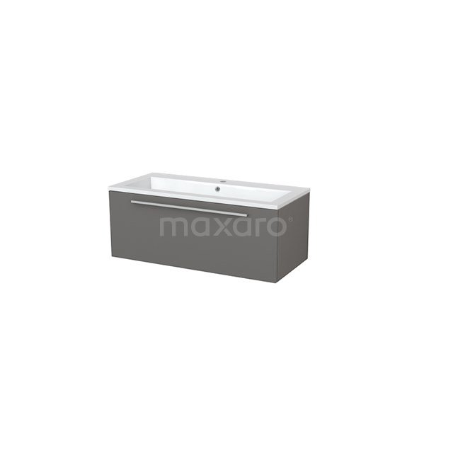 Badkamermeubel 100cm Modulo+ Basalt 1 Lade Vlak Wastafel Mineraalmarmer BMP005360