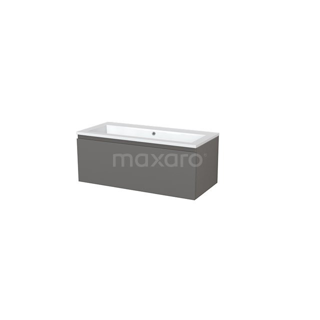 Badkamermeubel 100cm Modulo+ Basalt 1 Lade Greeploos Wastafel Mineraalmarmer BMP005392