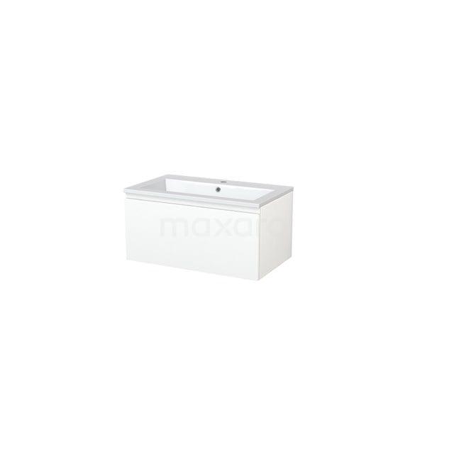 Badkamermeubel 80cm Modulo+ Mat Wit 1 Lade Greeploos Wastafel Mineraalmarmer BMP005424
