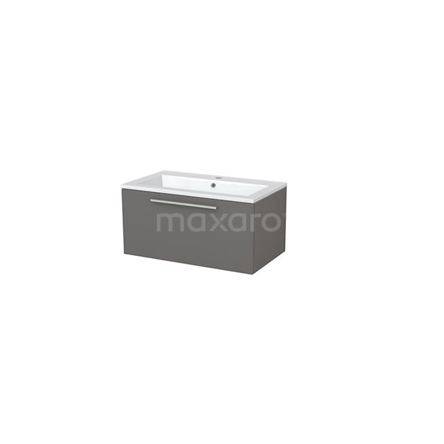Badkamermeubel 80cm Modulo+ Basalt 1 Lade Vlak Wastafel Mineraalmarmer BMP005425