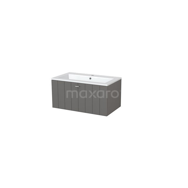 Badkamermeubel 80cm Modulo+ Basalt 1 Lade Lamel Wastafel Mineraalmarmer BMP005426