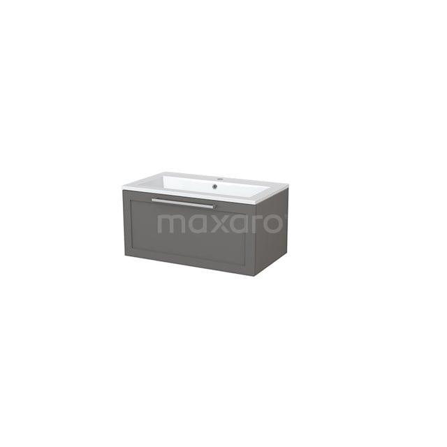 Badkamermeubel 80cm Modulo+ Basalt 1 Lade Kader Wastafel Mineraalmarmer BMP005427