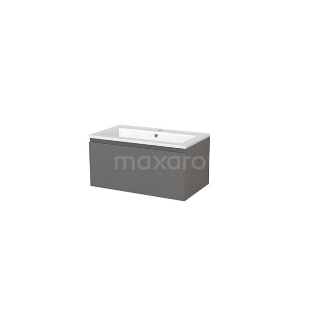 Badkamermeubel 80cm Modulo+ Basalt 1 Lade Greeploos Wastafel Mineraalmarmer BMP005428