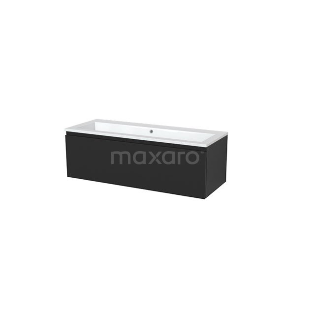 Badkamermeubel 120cm Modulo+ Carbon 1 Lade Greeploos Wastafel Mineraalmarmer BMP005438