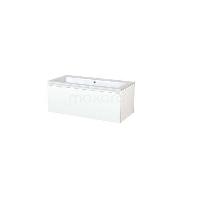 Badkamermeubel 100cm Modulo+ Mat Wit 1 Lade Greeploos Wastafel Mineraalmarmer BMP005452
