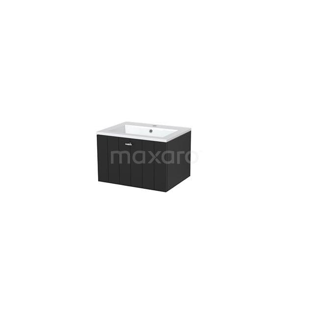 Badkamermeubel 60cm Modulo+ Carbon 1 Lade Lamel Wastafel Mineraalmarmer BMP005458