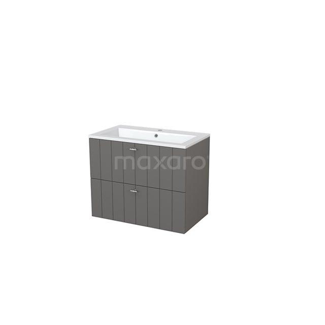 Badkamermeubel 80cm Modulo+ Basalt 2 Lades Lamel Wastafel Mineraalmarmer BMP005550