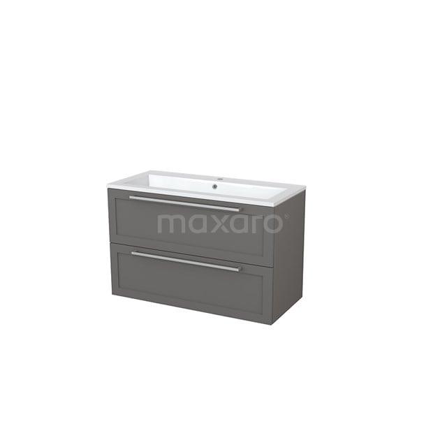 Badkamermeubel 100cm Modulo+ Basalt 2 Lades Kader Wastafel Mineraalmarmer BMP005584