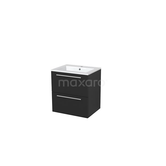 Badkamermeubel 60cm Modulo+ Carbon 2 Lades Vlak Wastafel Mineraalmarmer BMP005589