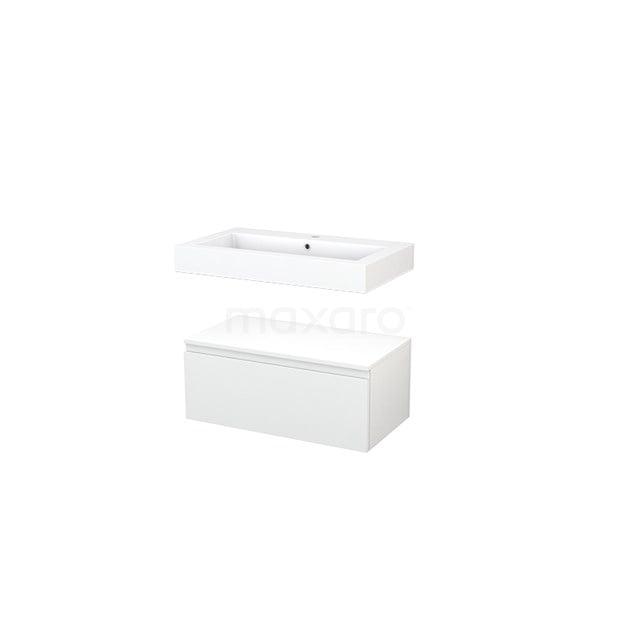 Wastafelmeubel Modulo+ 80x35cm Hoogglans Wit 1 Lade BMR000044