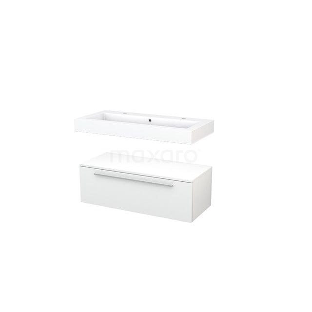 Wastafelmeubel Modulo+ 100x35cm Hoogglans Wit 1 Lade BMR000051