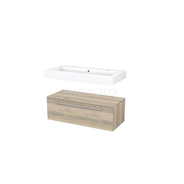 Wastafelmeubel Modulo+ 100x35cm Eiken 1 Lade BMR000059