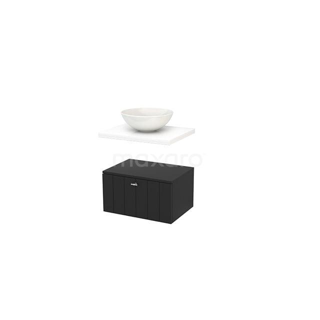 Lage Badkamerkast met Wastafelblad 60x35cm Modulo+ Plato Carbon Lamel BMR000130