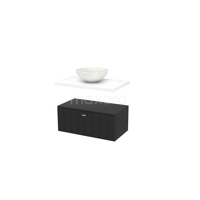 Lage Badkamerkast met Wastafelblad 80x35cm Modulo+ Plato Carbon Lamel BMR000144