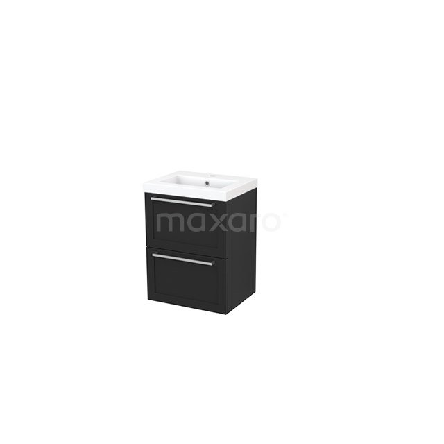 Badkamermeubel 50cm Modulo+ Slim Carbon 2 Lades Kader Wastafel Mineraalmarmer BMS000013